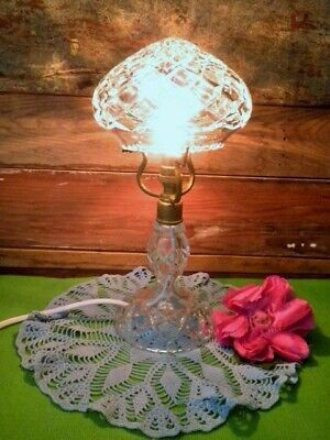 Art Deco Crystal Boudoir Lamp Vintage Bedside Or Desk Lamp Works 27.5Cm Gorgeous