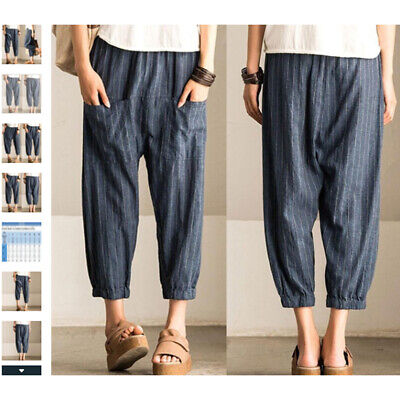 Autumn Women's High Waist Harem Pants Casual Loose Nine Points Pants LG