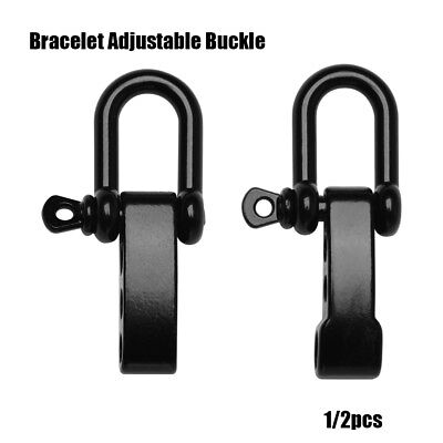 1 or 2*Stainless Steel Black U Anchor Shackle Screw Pin Paracord Bracelet Buckle