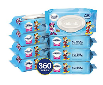 Cottonelle Flushable Toddler Wipes for Kids, 8 Flip-Top Packs, 360 Wet Wipes in