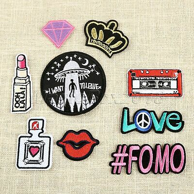 9Pcs Fabric Embroidery Radio Letter Lipstick Sewing Patches Shoes Jeans Applique