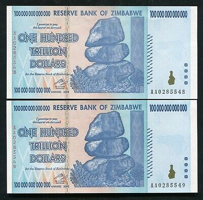 (2) Consecutive 2008 100 Trillion Dollars Reserve Bank Of Zimbabwe, Aa P-91 Unc