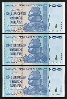 (3) Consecutive 2008 100 Trillion Dollars Reserve Bank Of Zimbabwe, Aa P-91 Unc