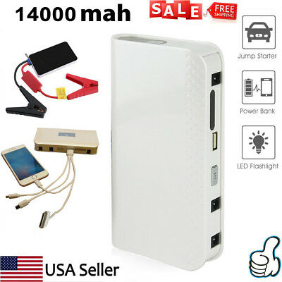 14000mAh Car Jump Starter Battery Charger Portable Power Bank Booster For iPhone