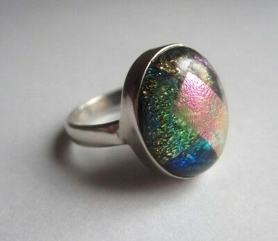 Vintage FOIL ART GLASS STERLING SILVER RING Sz 6 Colorful Cabochon Abstract