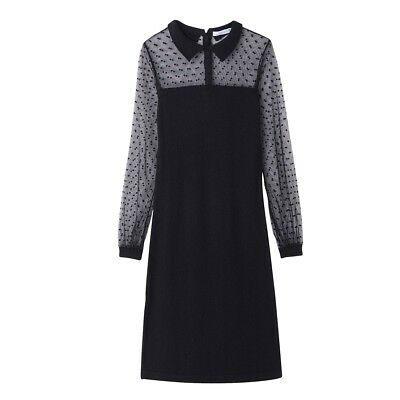 0d030893af New La Redoute Mademoiselle R Black Knitted Dress with Tulle Polka Dots - S