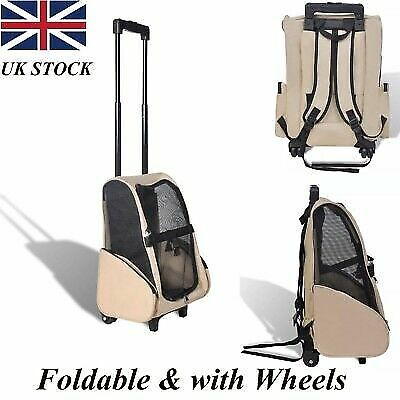Foldable Dog Cat Pet Trolley Carrier Stroller Travel Backpack Push Wheel Cage UK