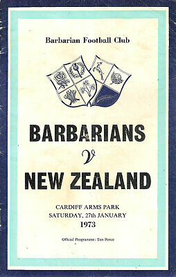Barbarians v New Zealand 27 Jan 1973 Cardiff RUGBY PROGRAMME