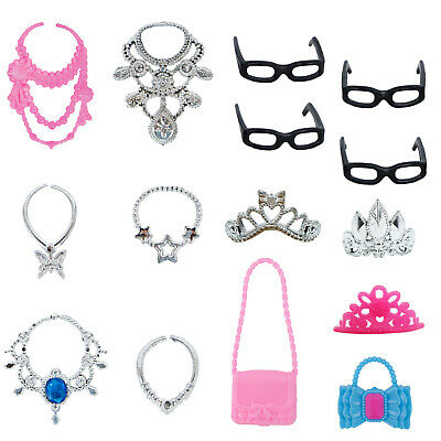 Beauty Royal Plastic Necklace Crown Handbags Accessories Clothes For Barbie Doll