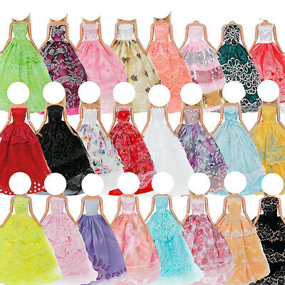 5x Random Wedding Party Dress Gown Accessories Clothes For Barbie Doll Xmas Gift