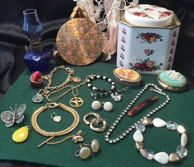 Estate Collection Vintage Antique Vanity Compact Trinket Boxes Jewellery Lot
