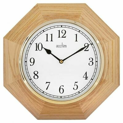 Acctim Richmond Wooden Battery Operated Quartz Octagonal Wall Clock - Oak