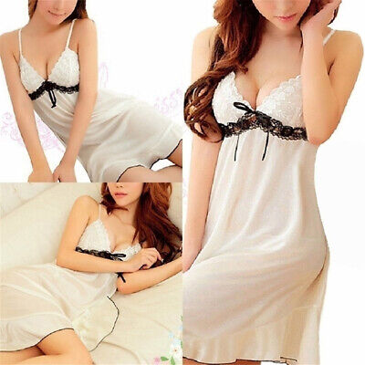 Women Smooth V Neck Ice Silk Sexy Nightgown Temptation Breathable Nightdress 6A