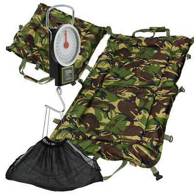 Carp Fishing Camo DPM Folding Unhooking Beanie Landing Mat Set With Scale Sling