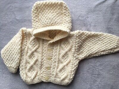 Hand Knitted Baby Hooded Aran Jacket 6-12 Mths