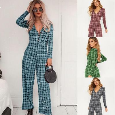Fashion Womens Plaid Rompers V-Neck Long Sleeve Jumpsuits Pants Trousers Zsell