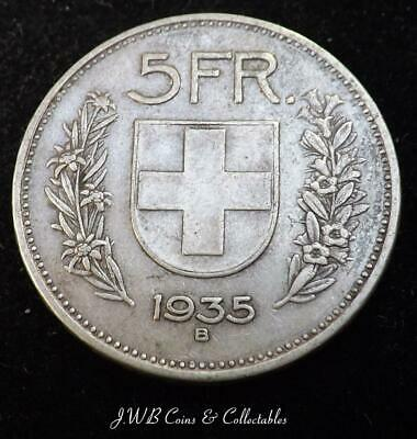 1935 Switzerland Silver 5 Francs Coin