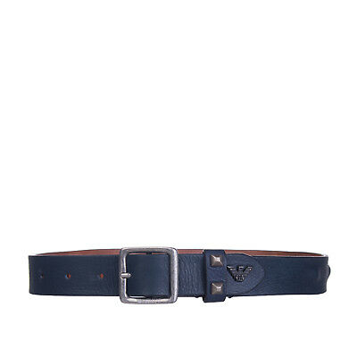 ARMANI JUNIOR Leather Belt Size S Crumpled Effect Covered Studs Made in Italy