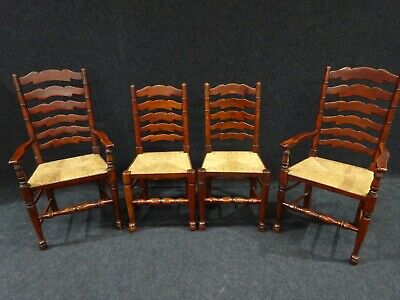Set Of 4 Farmhouse Kitchen Chairs Antique Design Mahogany Including Carvers