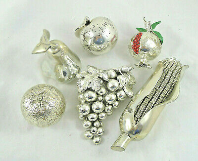 Vintage Made Italy Silver Laminated Miniature Statuine Fruit Fruits Set Design