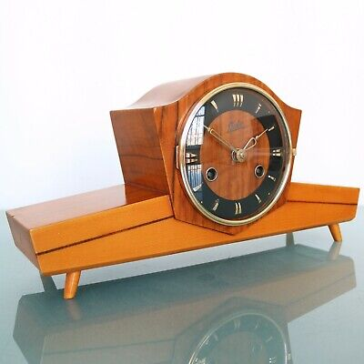 JUBA SCHATZ Mantel CLOCK TOP! HIGH GLOSS Mid Century 3 Bar Chime Vintage Germany