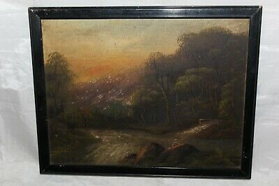 Antique H Burton Scottish School Oil On Board Wooded Valley With Stream Framed