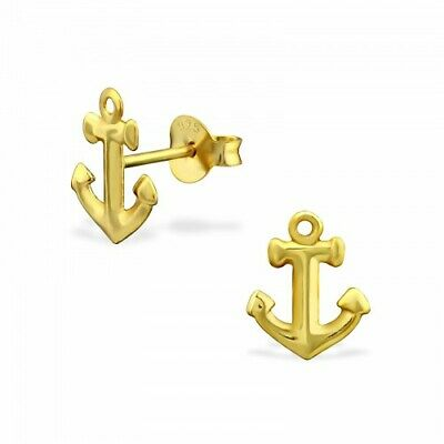 925 Sterling Silver /& Gold Anchor Nautical 8x12mm Stud Earrings /& Gift Box #6