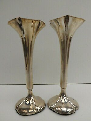 Pair of Hallmarked Silver Vases Both Vases Have A Small Split In Silver