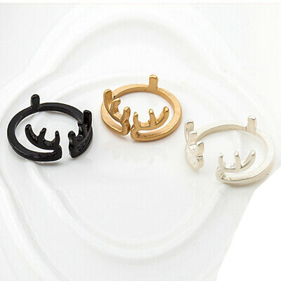 Simple Lovely Deer Ring Adjustable Open Ring Girls Animal Ring Party Jewelry 6A