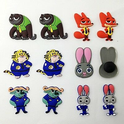 12pcs Zootopia Charms Accessories Fit for Clog Sandle/Bracelets Kid's Gift