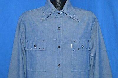 vintage 70s LEVIS PANATELA CHAMBRAY BIG E LARGE COLLAR STUD SHIRT JACKET LARGE L
