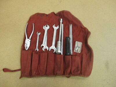 vintage Original Mercedes Benz Roll Up Tool Pouch w/ Assorted German Hand Tools