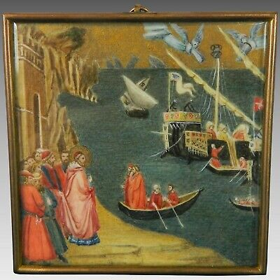 Antique Framed Miniature Hand Painted Scene The Miracle of Saint Nicholas Italy