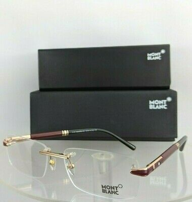 New Authentic MONT Blanc Eyeglasses MB 490 028 Burgundy & Gold Frame 57mm 490