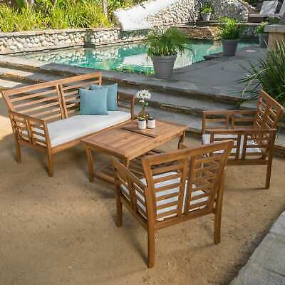 Christopher Knight Home Caydon Outdoor 4 Piece Acacia Wood Chat Set
