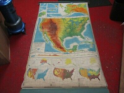 Antique Pictorial Relief With Merging Colors Map Of United States 1958 Edition