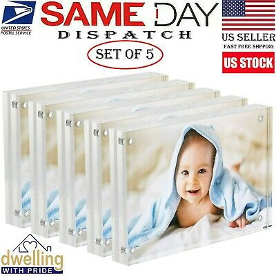 Acrylic Picture Frame   Magnetic Photo Holder   Set of 5-4x6 Inch