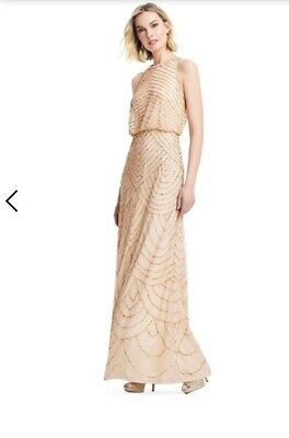 89ff6c81 ADRIANNA PAPELL ART Deco Beaded Blouson Dress with Halter Neckline 8 ...