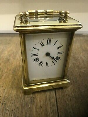 French antique 8day skeleton brass mantle clock  working