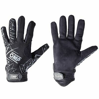 OMP Workshop EVO Race Rally Mechanics Suede Leather Gloves In Black