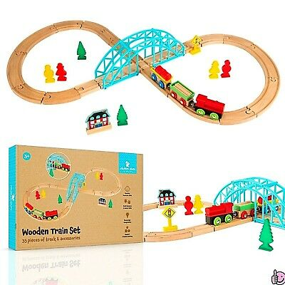 35Pcs Wooden Toys Train Set Track Parts Children Natural Non-Toxic Game Gift NEW