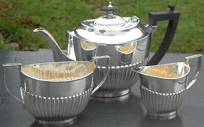 Antique 3 Piece Semi Fluted Tea Service Set - N&ga - Silver Plated