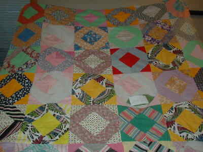 """Vintage Hand Stitched Quilt Top Feed Sack? TLC Cutter? 60""""x70"""""""