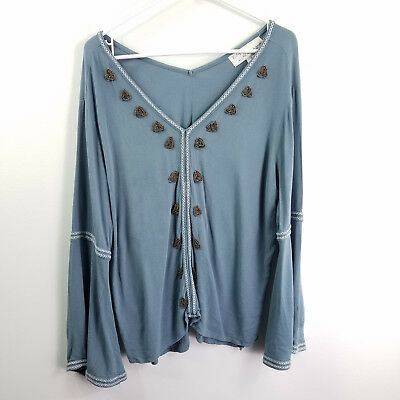 Vintage Havana Womens Top Blue V-Neck Embroidered Beaded Blouse Size S