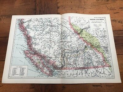 1900s double page map from g.w. bacon - british columbia south !