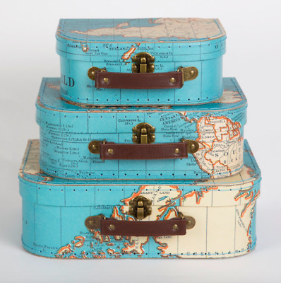 Sass & Belle Set of 3 Vintage World Map Suitcases Kids Storage Boxes Cases