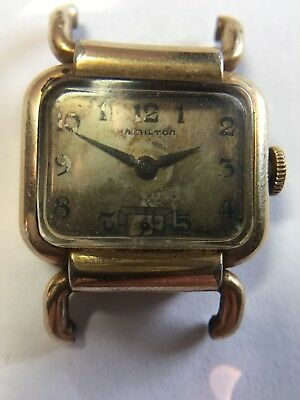 Old Antique Vintage 10K Yellow Gold Filled Hamilton Watch Not Working for Parts