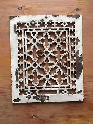 Vtg Antique Ornate Heat Register Cast Iron Wall Floor Grate Vent white chippy