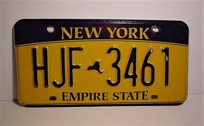 New York License Plate  HJF-3461 Embossed Empire State 2010 Base Date