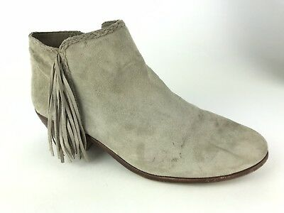 21a3d801a Sam Edelman Womens Size 7.5 Booties Paige Fringe Beige Suede Leather Ankle  Boots